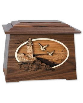 Lighthouse with Flowers 3D Inlay Walnut Wood Astoria Cremation Urn