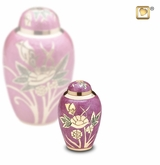 Lilac Rose Enameled Keepsake Cremation Urn