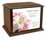 Lilies Eternal Reflections Wood Cremation Urn - 4 Sizes