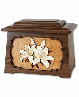 Lilies with 3D Inlay Maple Wood Astoria Cremation Urn