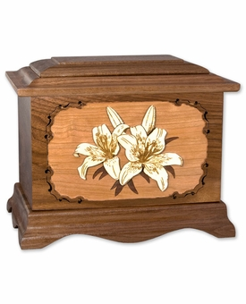 Lilies with 3D Inlay Walnut Wood Cremation Urn