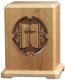 Linen Fold Cross Laser Carved Cherry Wood Cremation Urn