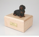 Long-Haired Dachshund Dog Figurine Pet Cremation Urn - 078