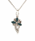 Long Teal Floral Sterling Silver Cremation Jewelry Necklace