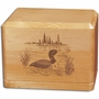 Loon Classic Maple Wood Cremation Urn