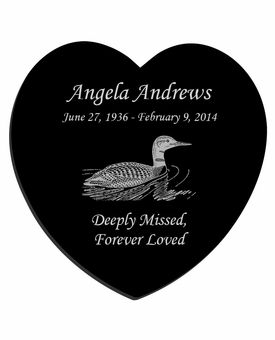 Loon Laser-Engraved Heart Plaque Black Granite Memorial