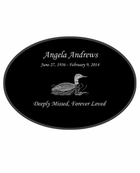 Loon Laser-Engraved Oval Plaque Black Granite Memorial