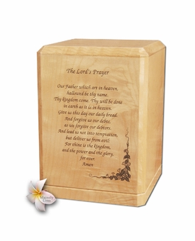 Lord's Prayer Classic Maple Wood Cremation Urn