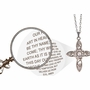 Lords Prayer floral Cross Magnifier Jewelry Pendant Necklace