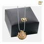 Lotus Gold Vermeil Plated Two Tone With Clear Crystal Sterling Silver Cremation Jewelry Pendant Necklace