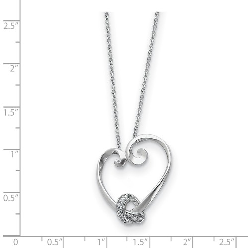 18 Sentimental Expressions Sterling Silver CZ Hearts Joined Together Necklace