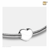 LoveHeart Rhodium Plated Sterling Silver Cremation Jewelry Bead