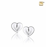LoveHeart Rhodium Plated Sterling Silver Memorial Jewelry Stud Earrings