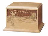 Male Golfer Cherry Wood Cremation Urn