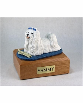 Maltese Dog Figurine Pet Cremation Urn - 1632