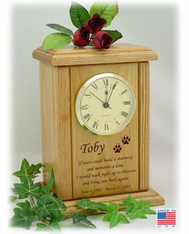 Mantel Clock With Poem And Paw Prints Engraved Wood Pet Cremation Urn