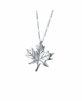 Maple Leaf Sterling Silver Cremation Jewelry Pendant Necklace