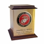 Marine Corps Color Emblem Sheet Bronze With Walnut Trim Snap-Top Cremation Urn