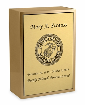 Marine Corps Sheet Bronze Inset Snap-Top Niche Cremation Urn with Engraved Plate