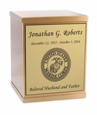 Marine Corps Sheet Bronze Overlap Top Cremation Urn with Engraved Plate