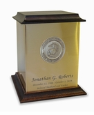 Marine Corps Sheet Bronze With Walnut Trim Snap-Top Cremation Urn