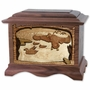 Marshland Melody Ducks with 3D Inlay Walnut Wood Cremation Urn