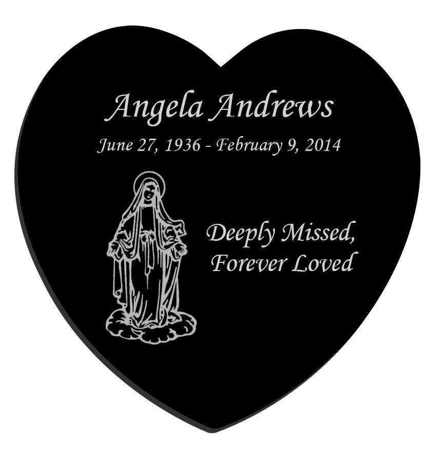 Glyph Etched Heart With Field Inside Small Tattoo: Mary Laser-Engraved Heart Plaque Black Granite Memorial