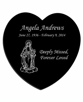 Mary Laser-Engraved Heart Plaque Black Granite Memorial
