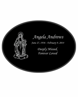 Mary Laser-Engraved Oval Plaque Black Granite Memorial