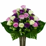 Mausoleum Purple and Lavender Mixed Roses Silk Flowers for Cemeteries