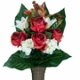 Mausoleum Red Rose with White Hydrangea and Lily Silk Flowers for Cemeteries