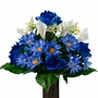 Medium Blue Daisy and Rose Calla Lily Mix Silk Flowers for Cemeteries