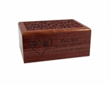 Medium Carved Sheesham Wood Pet Cremation Urn