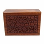 Extra Small Carved Sheesham Wood Cremation Urn