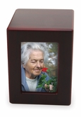 Small Cherry Finish MDF Wood Photo Cremation Urn