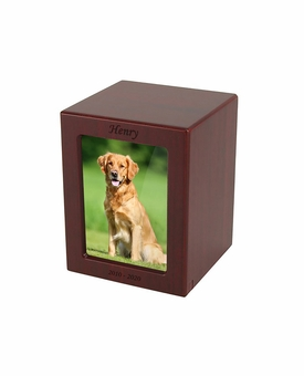 Medium Cherry Finish MDF Wood Photo Pet Cremation Urn