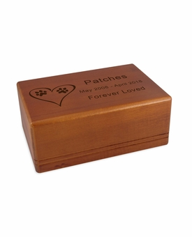 Medium Economy Mahogany Wood Pet Cremation Urn