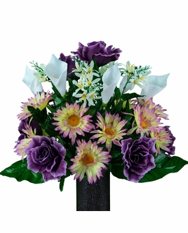 Medium Lavender Daisy and Purple Rose Calla Lily Mix Silk Flowers for Cemeteries