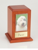 Medium Photo Tower Cherry Wood Pet Cremation Urn