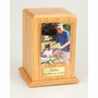Medium Photo Tower Oak Wood Pet Cremation Urn