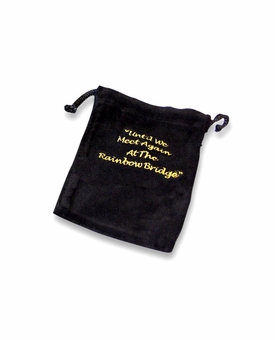 Medium Rainbow Bridge Black Velvet Pet Cremains Bag For Ashes