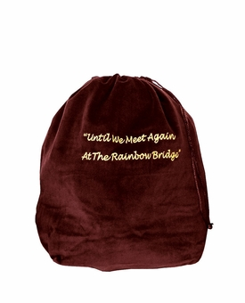 Medium Rainbow Bridge Burgundy Velvet Pet Cremation Urn Bag