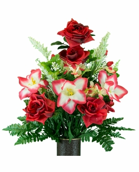 Medium Red Open Roses with Amaryllis Silk Flowers for Cemeteries
