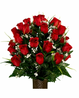 Medium Red Roses with Lily Grass Silk Flowers for Cemeteries
