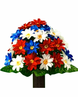 Medium Red White and Blue Dahlia Silk Flowers for Cemeteries