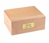 Medium Traditional Maple Wood Pet Cremation Urn