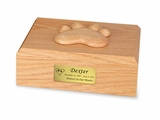 Medium Traditional Paw Print Oak Wood Pet Cremation Urn