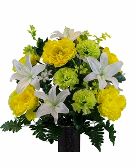 Medium White Lily Yellow Peony Lime Carnation Silk Flowers for Cemeteries