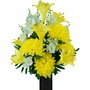 Medium Yellow Lily and Dahlia Silk Flowers for Cemeteries