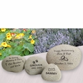 Memorial River Rock -Stone Garden  Markers - Custom Engraved